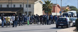 Un'immagine dei primi 50 migranti trasferiti dal Cara di Mineo a febbraio