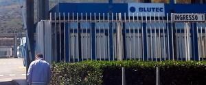 L'insegna con il marchio Blutec nella fabbrica ex Fiat a Termini Imerese