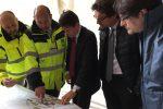 Una foto dal Cantiere della ss.640 con il premier Giuseppe Conte, il ministro Danilo Toninelli e Anas