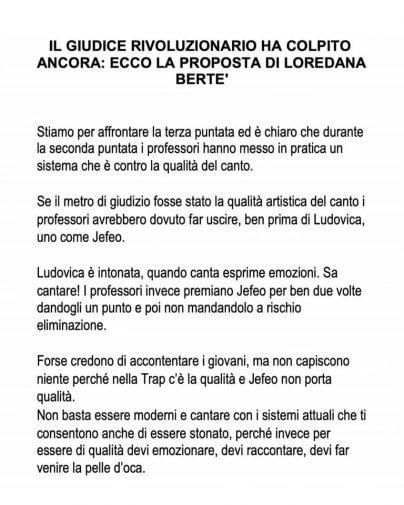 La lunga lettera di Loredana Bertè alla produzione di Amici