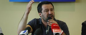 Matteo Salvini durante la convention laziale della Lega