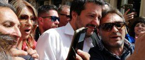 Il vicepremier e ministro dell'Interno, Matteo Salvini a Motta Sant'Anastasia