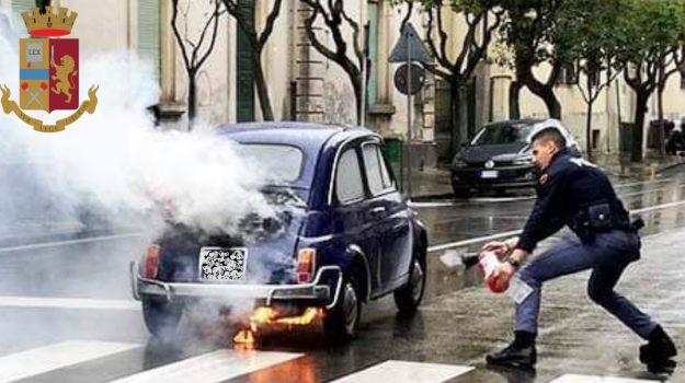 auto storica, incendio, polizia, Enna, Cronaca