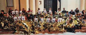 Un'immagine della protesta a Lampedusa