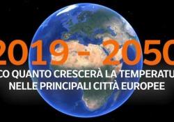 2019-2050: Europa sempre più calda, la mappa delle città con clima «estremo» Temperature più alte nell'arco di trenta anni. La nuova geografia del clima in Europa secondo lo studio dell'Understanding climate charge  - Corriere Tv