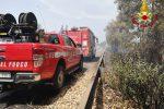 Incendio sulla A18 dopo il casello di Acireale