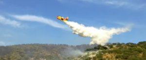 Gran caldo e incendi nel Palermitano, a Trabia interviene un canadair
