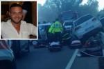 La foto dell'incidente e nel riquadro la vittima Mario Falcone