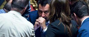 Il vicepremier e ministro dell'Interno Matteo Salvini in aula al Senato