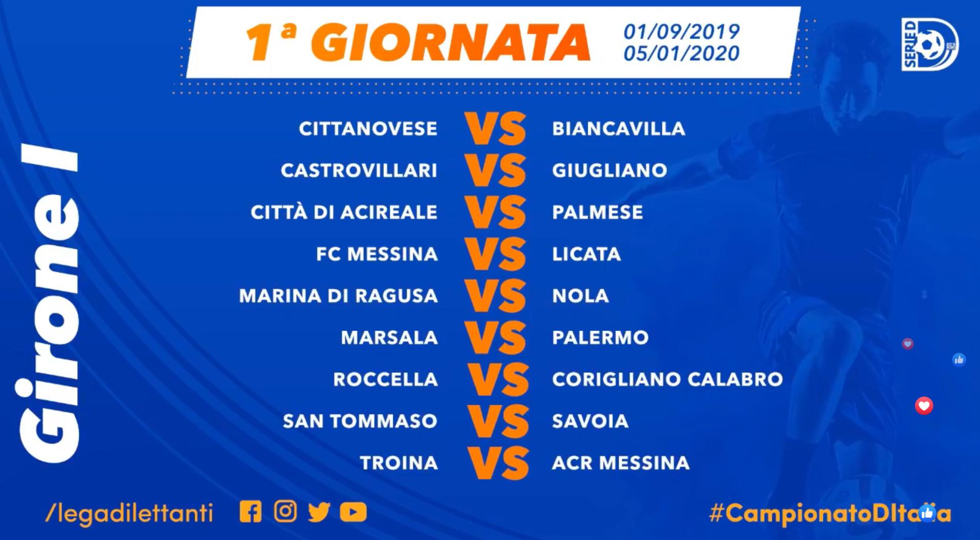 Campionato Serie A Calendario.Ecco Il Calendario Della Serie D Palermo All Esordio A