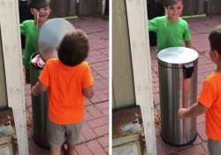 Il video di due bimbi che giocano a colpirsi col coperchio della pattumiera  diventa virale Sui social si scherza: «È l'ennesima prova del perché le donne vivono più a lungo degli uomini» - CorriereTV