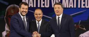 """Duello in tv fra Renzi e Salvini, il leader della Lega: """"Ho il 33%"""". L'ex premier: """"Ancora rosica"""""""