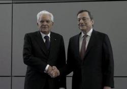 Bce, Mattarella a Francoforte per la cerimonia di commiato di Draghi Presenti anche la cancelliera tedesca Merkel e il presidente francese Macron - Ansa