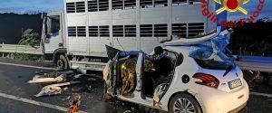 Tragico incidente a Francofonte, 3 morti nello scontro tra auto e camion