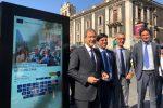 In foto da sinistra Nello Musumeci, Salvo Pogliese, Salvatore Fiore e Matteo Salvai