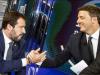 Matteo Salvini e Matteo Renzi dopo il confronto in tv a