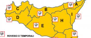 Piogge e temporali in Sicilia, domani allerta arancione in tutta la Regione