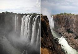 Le famose Cascate Vittoria non ci sono più: quasi prosciugate a causa della siccità Le immagini sono impressionanti: la portata dell'acqua è diminuita del 50% - CorriereTV