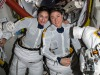 Astronauts Jessica Meir (left) and Christina Koch during the preparation of their first spacewalk on October 18, 2019 (source: NASA)