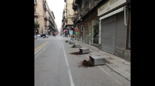 isola pedonale, vandalismo, Palermo, Cronaca