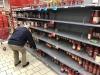 Coronavirus: Scaffali ormai vuoti in un supermercato della Coop a Vignate, Milano