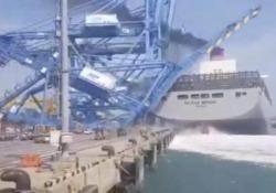 Corea: la nave portacontainer si schianta contro il porto  L'incidente alla «Ms Milano Bridge» nel porto sudcoreano di Busan - CorriereTV