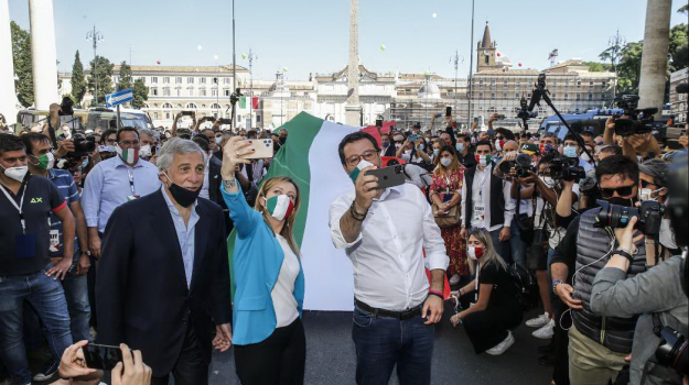 2 giugno, centrodestra, coronavirus, Festa della repubblica, Antonio Tajani, Giorgia Meloni, Matteo Salvini, Sicilia, Politica