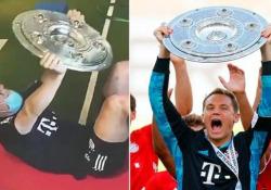 Manuel Neuer usa il trofeo della Bundesliga per allenarsi Un piatto d'argento dal peso di 11 kg - CorriereTV