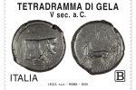 Un'antica moneta di Gela per un francobollo italiano