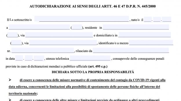 Autocertificazione, coronavirus, Viminale, Sicilia, Cronaca