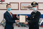 """Carabinieri, Premio """"Covid Warrior Awards"""" al comandante di Augusta"""