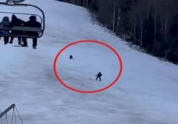 Romania: lo sciatore inseguito da un grosso orso in mezzo alla pista L'uomo è riuscito a distrarre l'animale lanciandogli lo zaino - CorriereTV