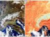 LEuropa centrale avvampata dal caldo anomalo di fine febbraio (fonte: Unione Europea, Copernicus Sentinel-3)