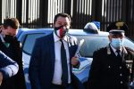 Leader of party of Lega Matteo Salvini on his arrival in the bunker of the prison of Bicocca for the preliminary hearing for the request for referral to trial that sees him charged for kidnapping for delays in the landing of 131 migrants from Gregoretti ship in Augustain July 2019 Catania, 19 February 2021. ANSA/ORIETTA SCARDINO