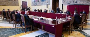 La riunione, nella sala della Lupa di Montecitorio, del tavolo di lavoro convocato dal presidente della Camera Roberto Fico