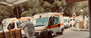 The photo published by Apollonio Curione on Facebook: ambulances queuing in Partinico