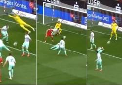 Bundesliga: il giocatore tedesco colpito tre volte in 6 secondi Il 23enne Marco Friedl del Werder Brema è stato colpito tre volte di fila nel match con l'Union Berlin - CorriereTV
