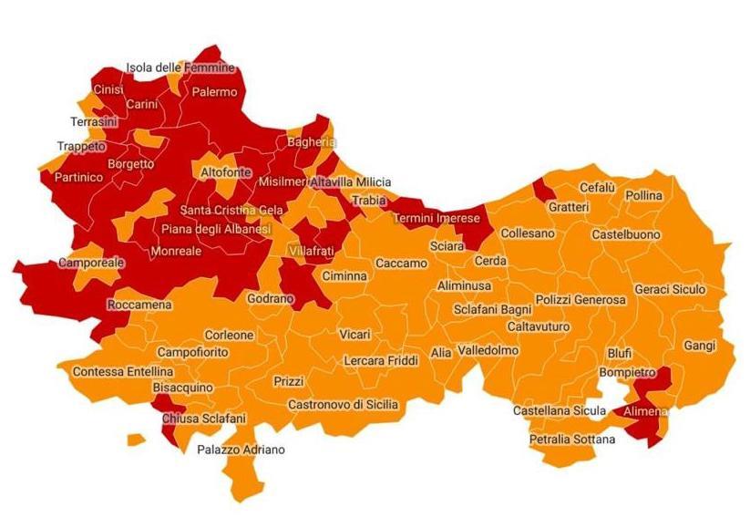 Cartina Della Sicilia Con Le Isole.Palermo Zona Rossa Fino Al 28 Conferma Anche Per 22 Comuni Della Provincia I Contagi Risalgono Giornale Di Sicilia