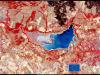 Il lago Pozzillo colpito da siccità (fonte: Ue, Copernicus Sentinel-2)
