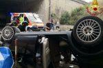 Incidente sull'autostrada Messina-Palermo, auto cade dal viadotto: un ferito
