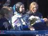 Lattrice russa Yulia Peresild al rientro a Terra