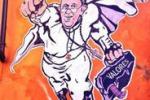 Papa Francesco come Superman in un murales a Roma
