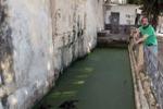 Siracusa, rifiuti e melma nella fontana degli Schiavi