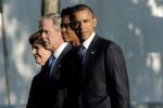 11 settembre, Obama e Bush insieme a Ground Zero